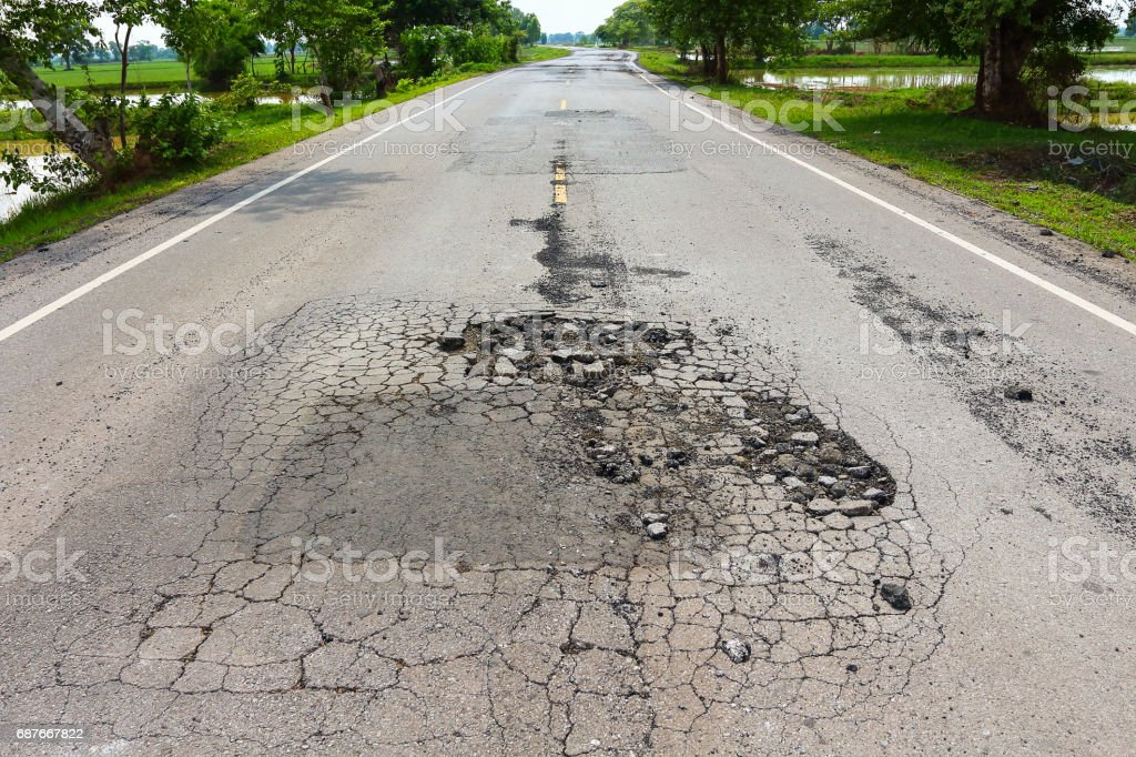 Pit on highway. stock photo