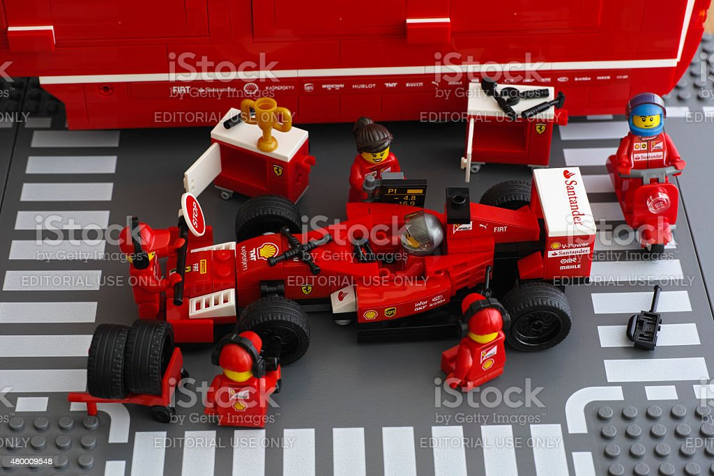 Pit stop of Lego Ferrari F14 T race car stock photo