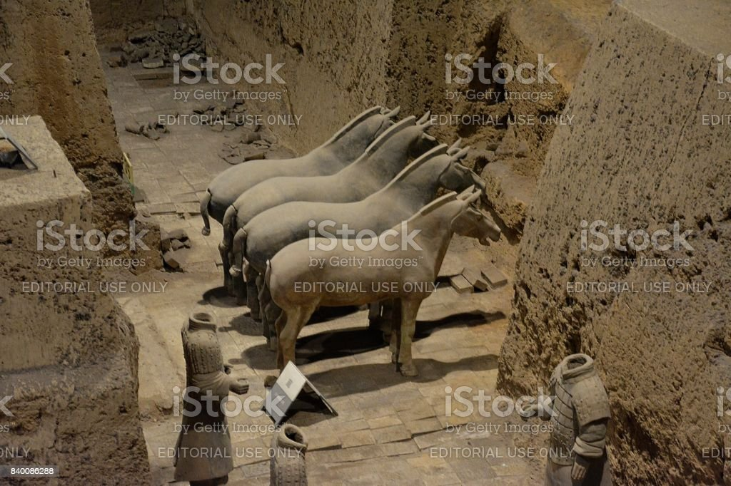 Pit three at Terracotta Army of Xi'an, Shaanxi, China stock photo
