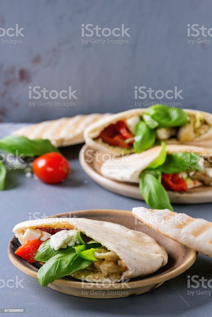 Pita bread sandwiches with vegetables royalty-free stock photo