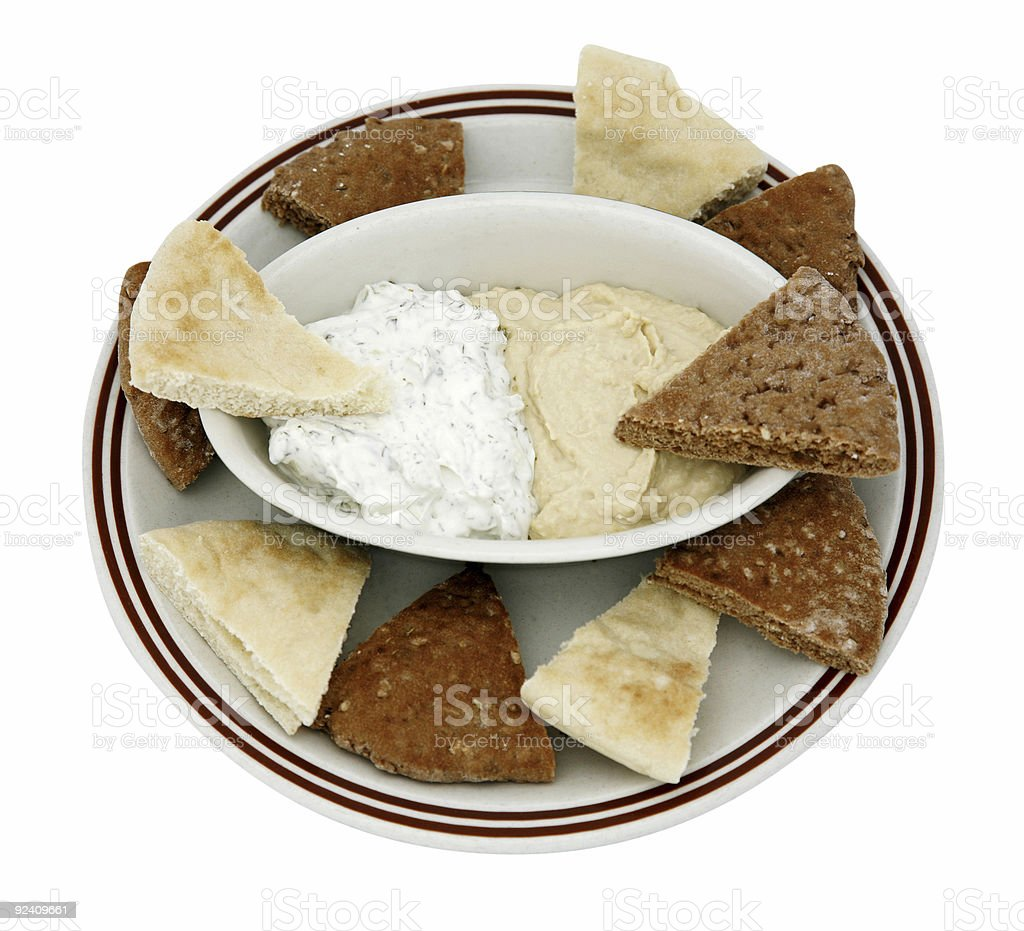 Pita Bread with hummus and tzatziki royalty-free stock photo