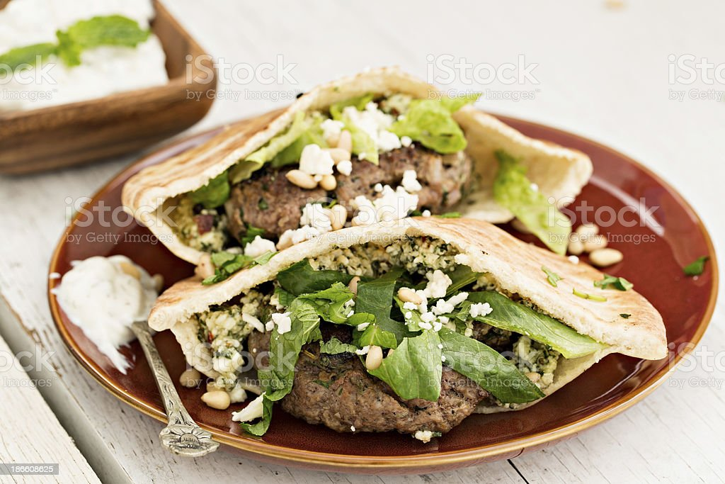 Pita Lamb Burger stock photo
