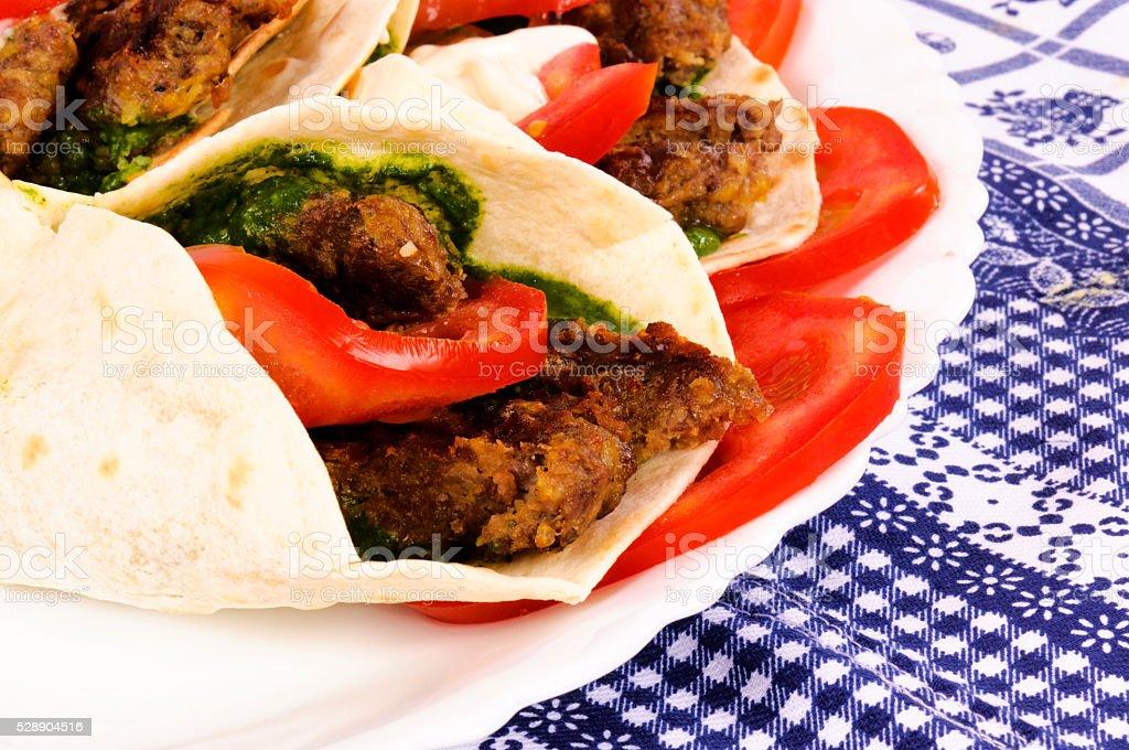 Pita meat stock photo