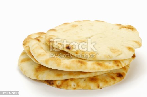 Pita bread on white.