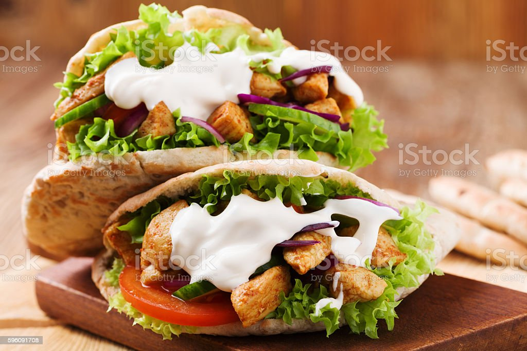 Pita salad with roasted chicken and vegetables. royalty-free stock photo