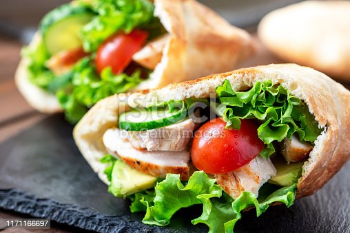 Pita stuffed chicken, tomatoes, lettuce and cucumber. Delicious Mediterranean food. Middle Eastern cuisine.