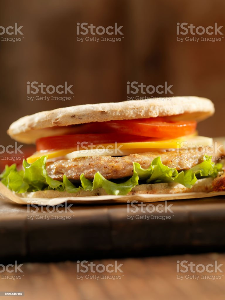 Pita Turkey Burger royalty-free stock photo