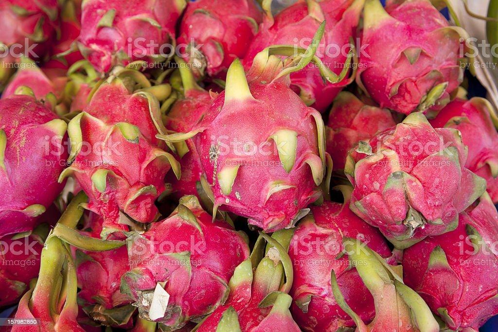 Pitaya, dragon fruit at asian market, Thailand royalty-free stock photo