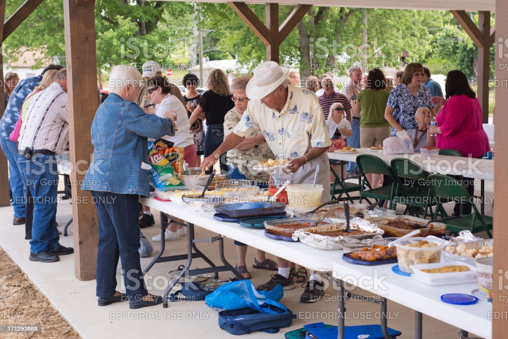 Pitch in Dinner at the Picnic Shelter stock photo