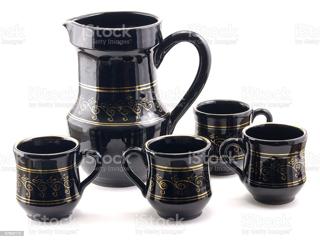 Pitcher and mugs royalty-free stock photo