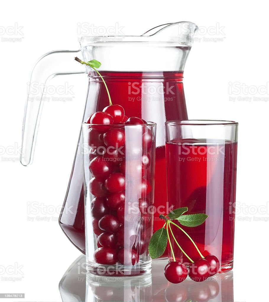 Pitcher and two glasses with cherries juice royalty-free stock photo
