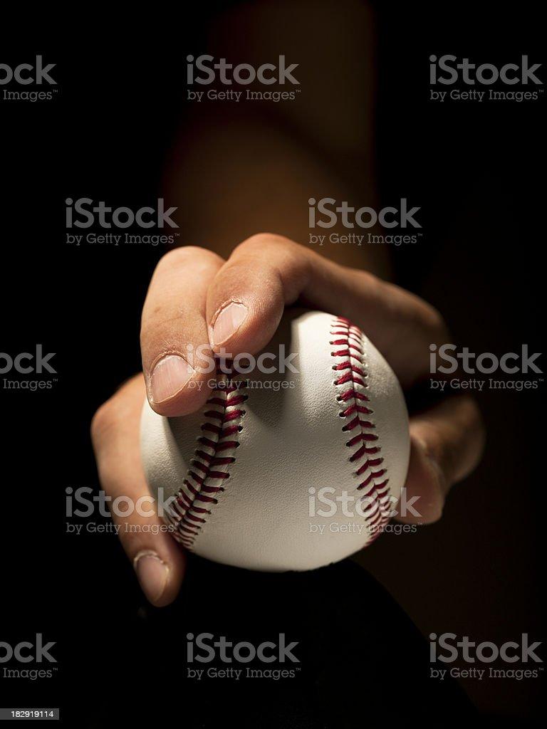 Pitcher holding a baseball royalty-free stock photo