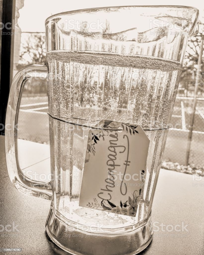 Pitcher of Champagne stock photo