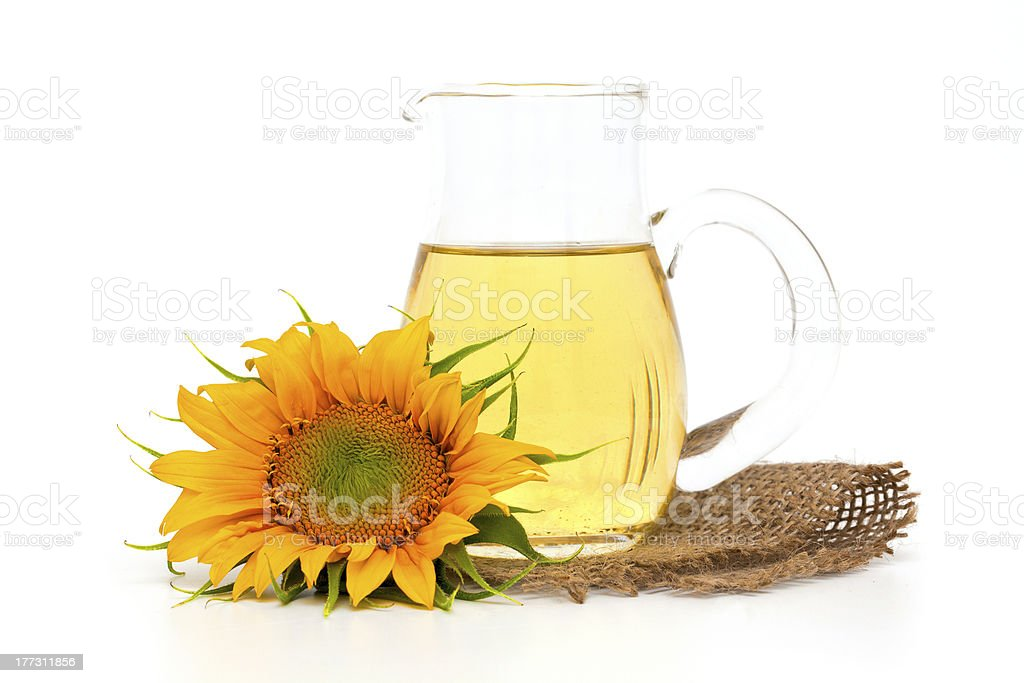 pitcher of sunflower oil stock photo