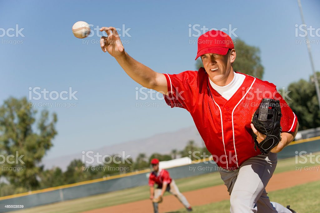 Pitcher Releasing Baseball stock photo
