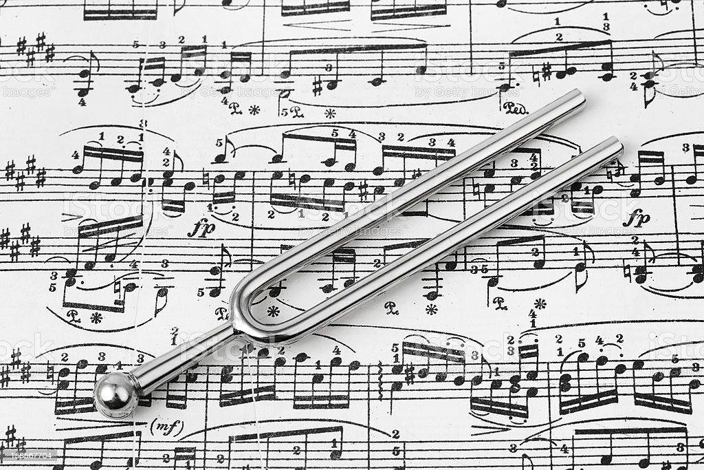 Pitchfork on sheet music royalty-free stock photo