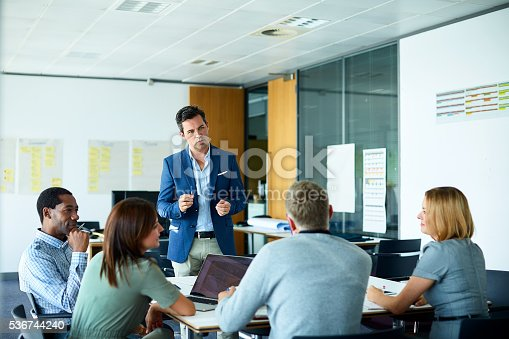 istock Pitching his ideas to the team 536744240