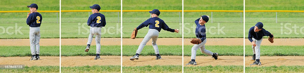 Pitching Sequence for Young Male Little League Baseball Pitcher stock photo