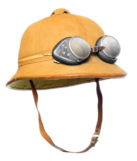 Pith-Helm mit Motorradbrille. Schutzkleidung für tropische Destinationen. – Foto