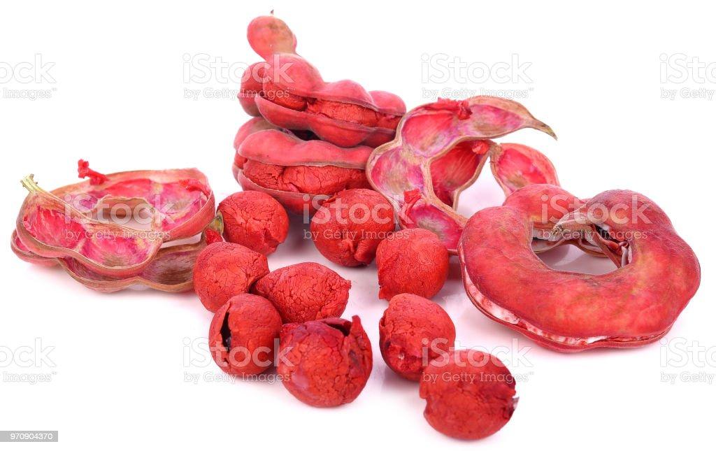 Pithecellobium Dulce fruit isolated on white background. stock photo