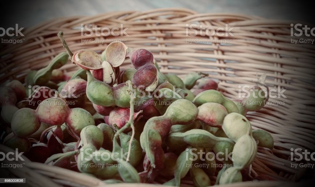 Pithecellobium dulce  in the container for eating. stock photo