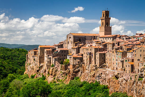 Pitigliano city on the cliff in summer, Italy Pitigliano city on the cliff in summer, Italy. tuff stock pictures, royalty-free photos & images