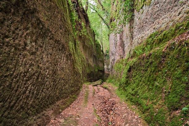 Pitigliano, Grosseto, Tuscany, Italy: Etruscan Via Cava, ancient trench dug into the tuff rock stock photo