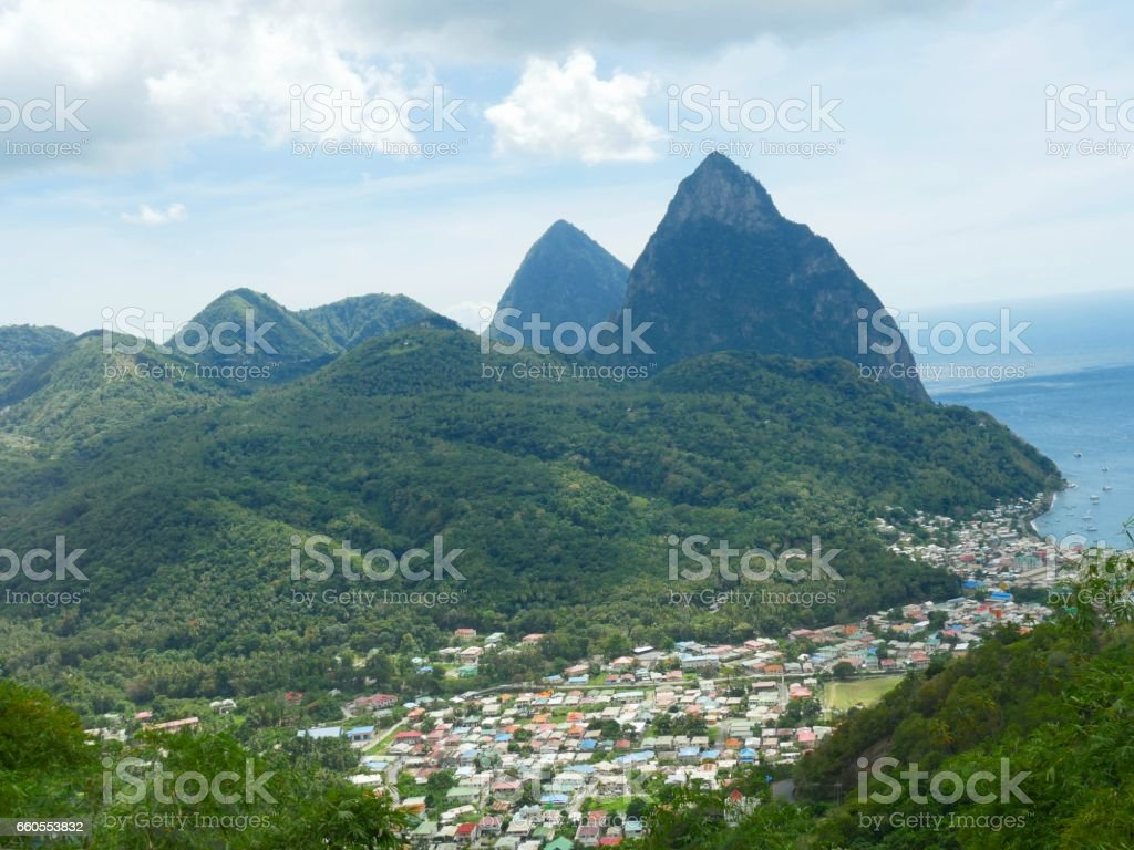 Piton Mountains, St Lucia stock photo