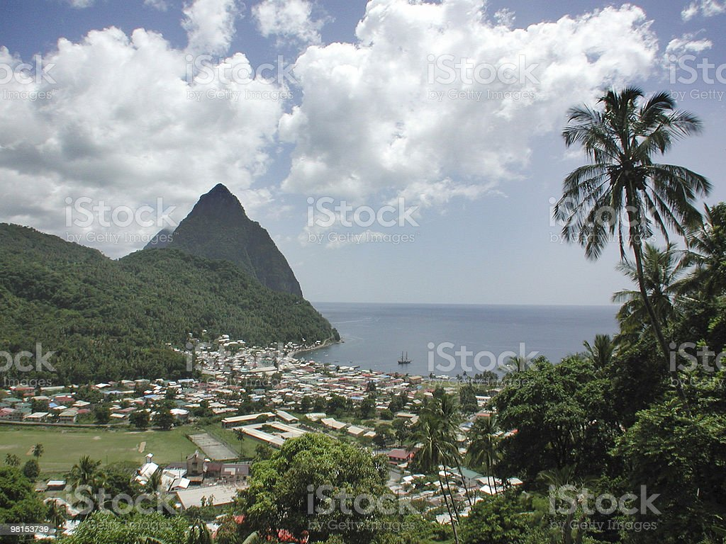 Pitons at St Lucia royalty-free stock photo