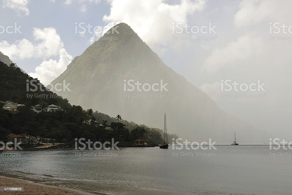 Pitons Of St. Lucia In Heavy Rain stock photo