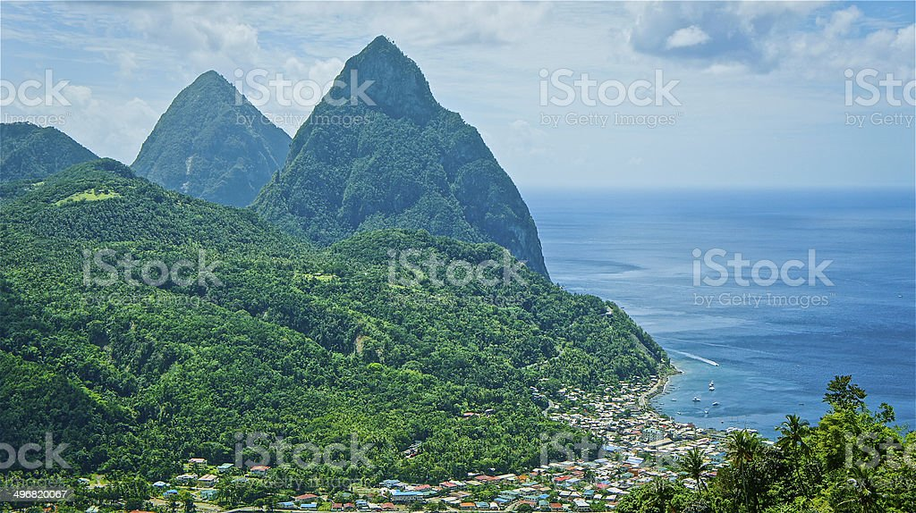 Pitons & Soufriere Bay stock photo