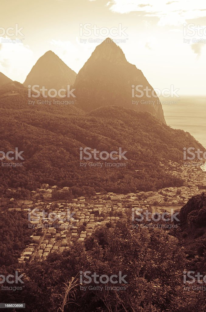 Pitons St Lucia sepia landscape stock photo