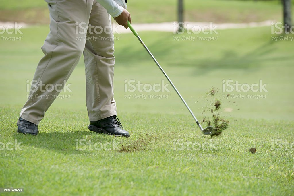 Pits with a flat grass for golf. stock photo