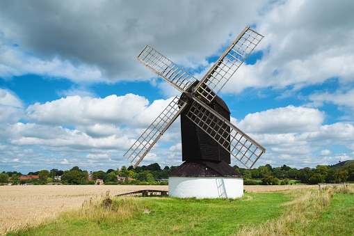 The sun shines down on Pitstone Windmill in Buckinghamshire, south east England.