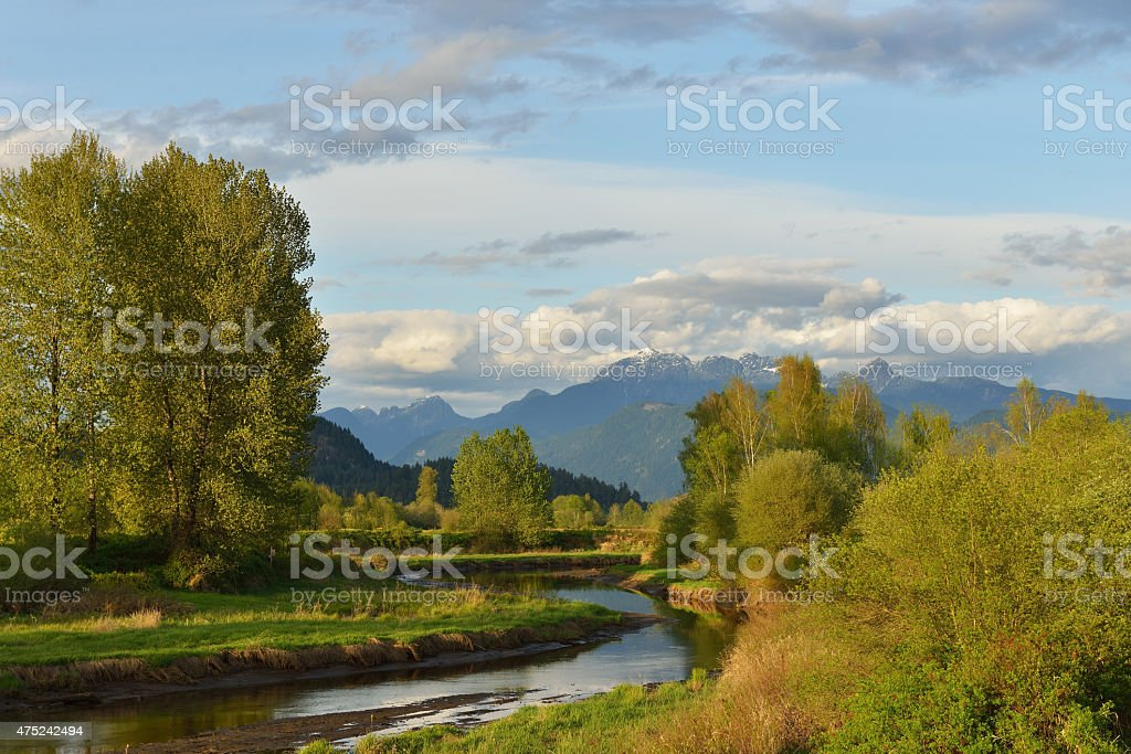 Pitt River and Golden Ears Mountain in spring stock photo