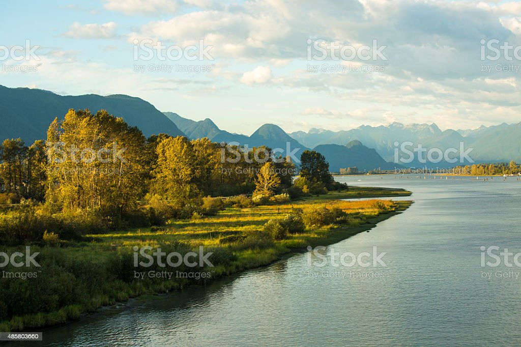 Pitt River and Golden Ears Mountain  - Stock Image stock photo