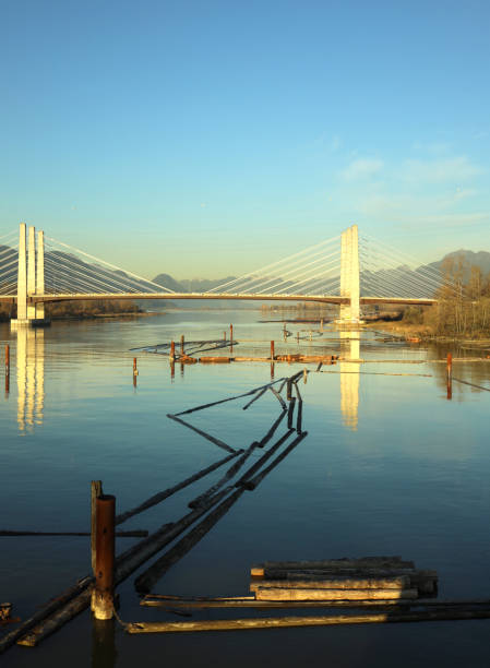 Pitt River Bridge in Metro Vancouver, Canada stock photo