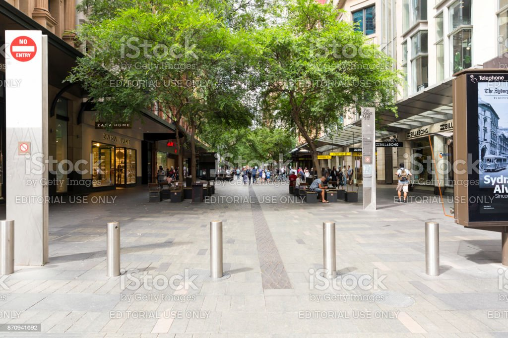 Pitt Street Mall Sydney Australia, copy space stock photo