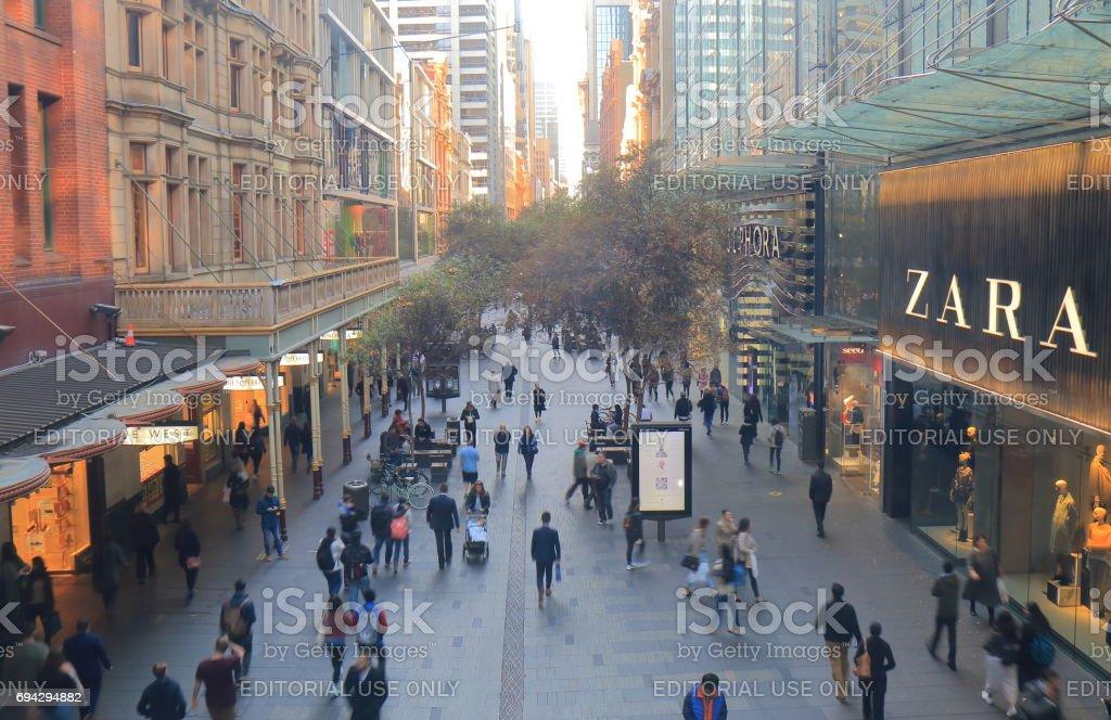 Pitt street shopping mall street Sydney Australia stock photo