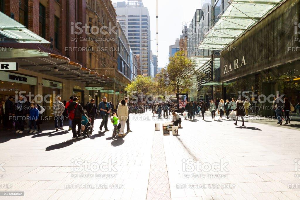 Pitt Street Sydney Australia, background with copy space stock photo