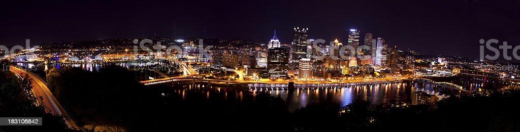 Pittsburg Pennsylvania Night Panoramic stock photo