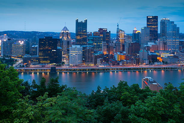 Pittsburg Pittsburg, skyline, twilight, river, Pennsylvania pittsburgh bridge stock pictures, royalty-free photos & images