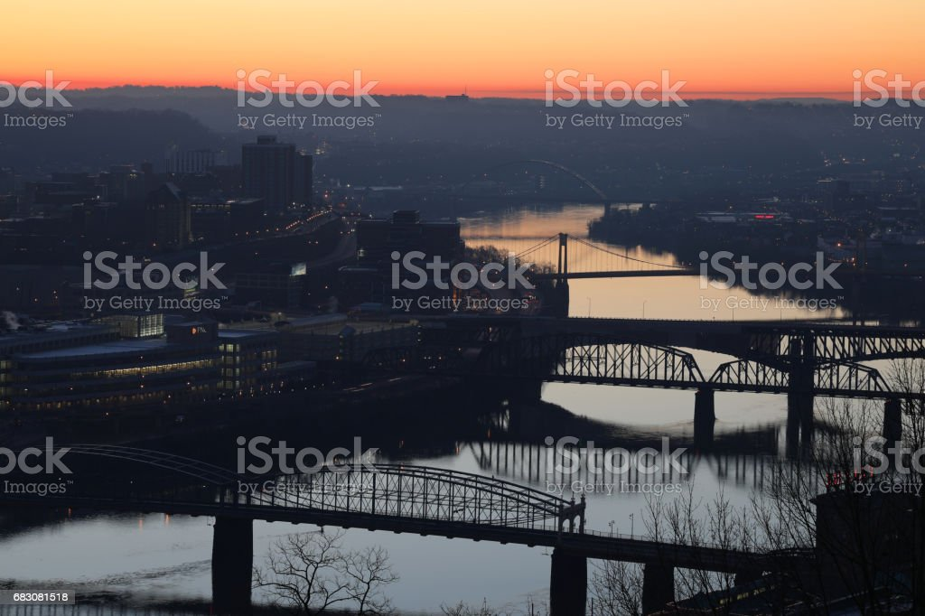 Pittsburgh Bridges at Sunrise stock photo