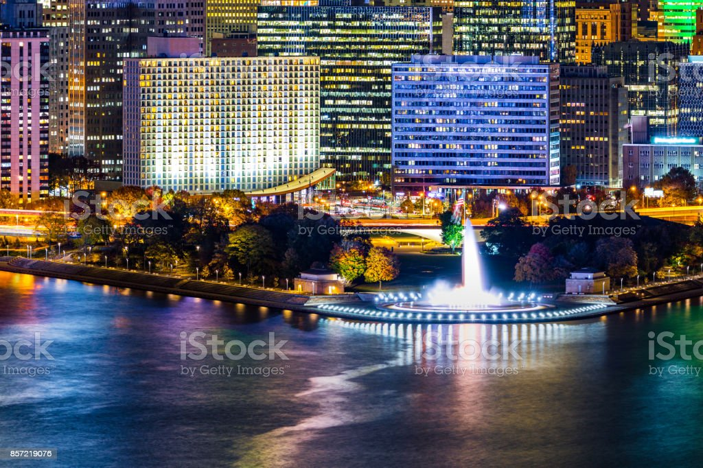Pittsburgh cityscape and Point State Park by night stock photo