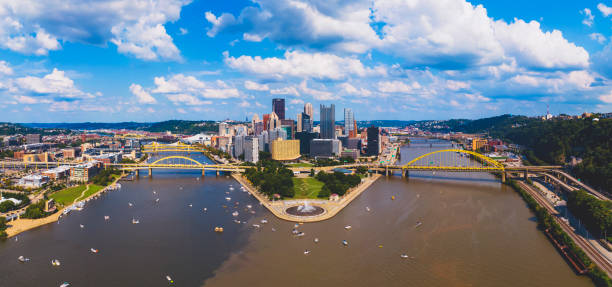 Pittsburgh downtown aerial view stock photo