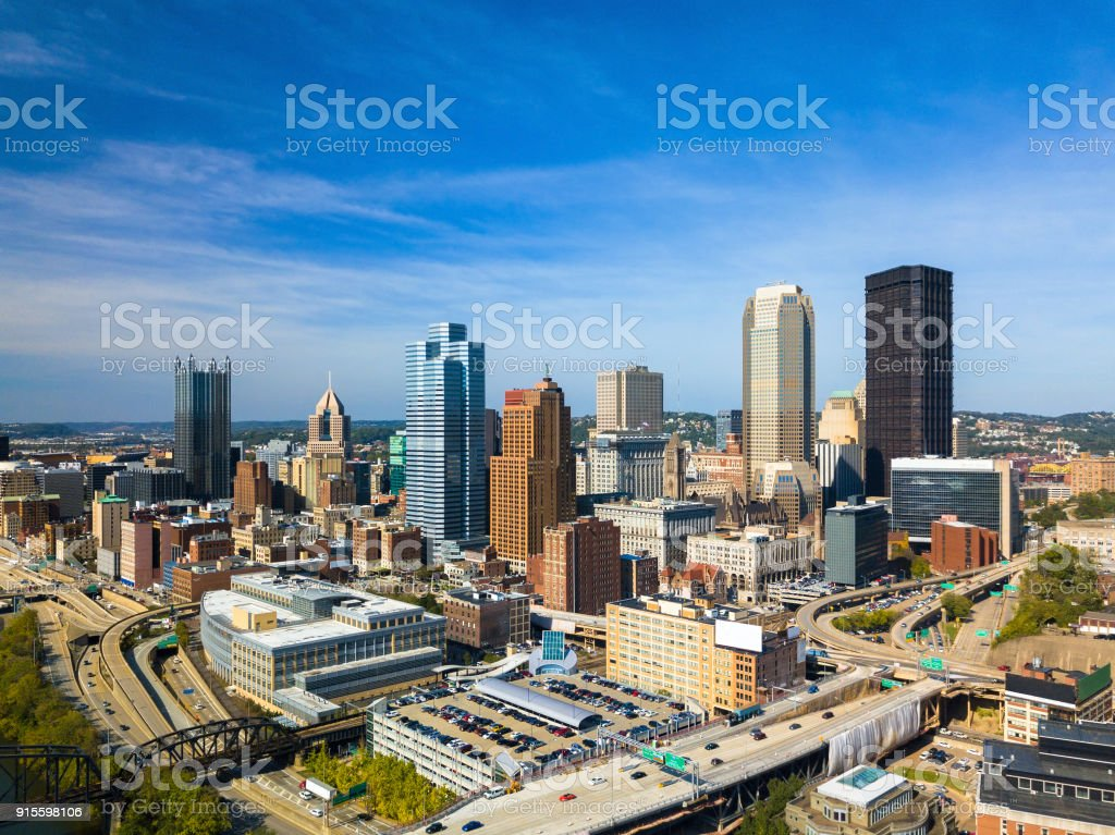 Pittsburgh Downtown Aerial with Highways stock photo