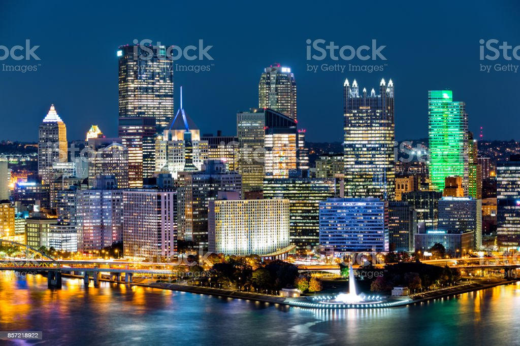 Pittsburgh downtown skyline by night stock photo