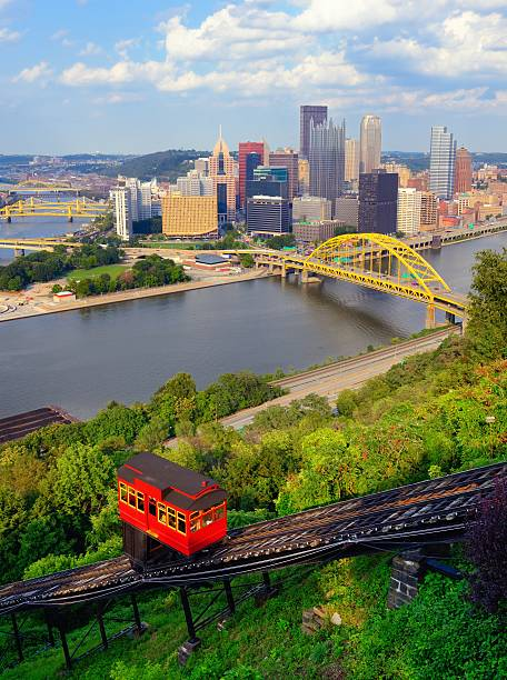 Pittsburgh Incline Incline operating in front of the downtown skyline of Pittsburgh, Pennsylvania, USA. pittsburgh stock pictures, royalty-free photos & images