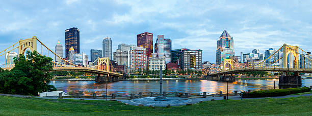 Pittsburgh, Pennsylvania At Night A high dynamic range (HDR) panoramic image of Pittsburgh, Pennsylvania at night. pittsburgh bridge stock pictures, royalty-free photos & images