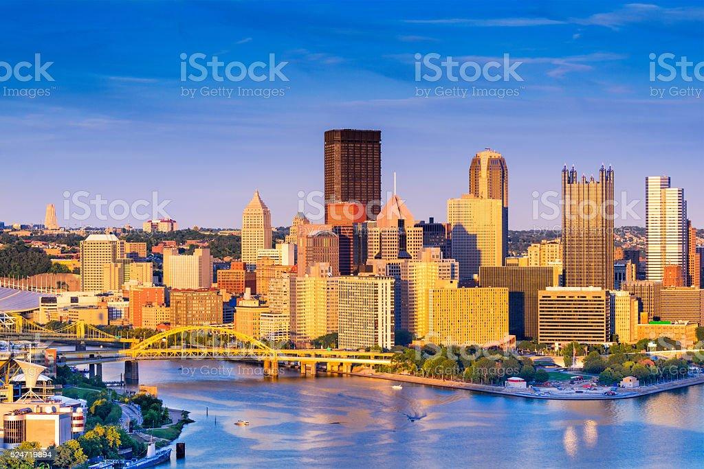 Pittsburgh Pennsylvania Cityscape Pittsburgh, Pennsylvania, USA at dusk. Architecture Stock Photo